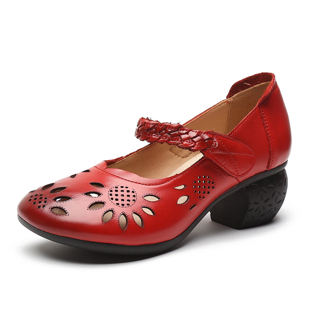 Leather Cutout Floral Braided Adjustable Ankle Strap Chunky Heel Dorsay Pumps