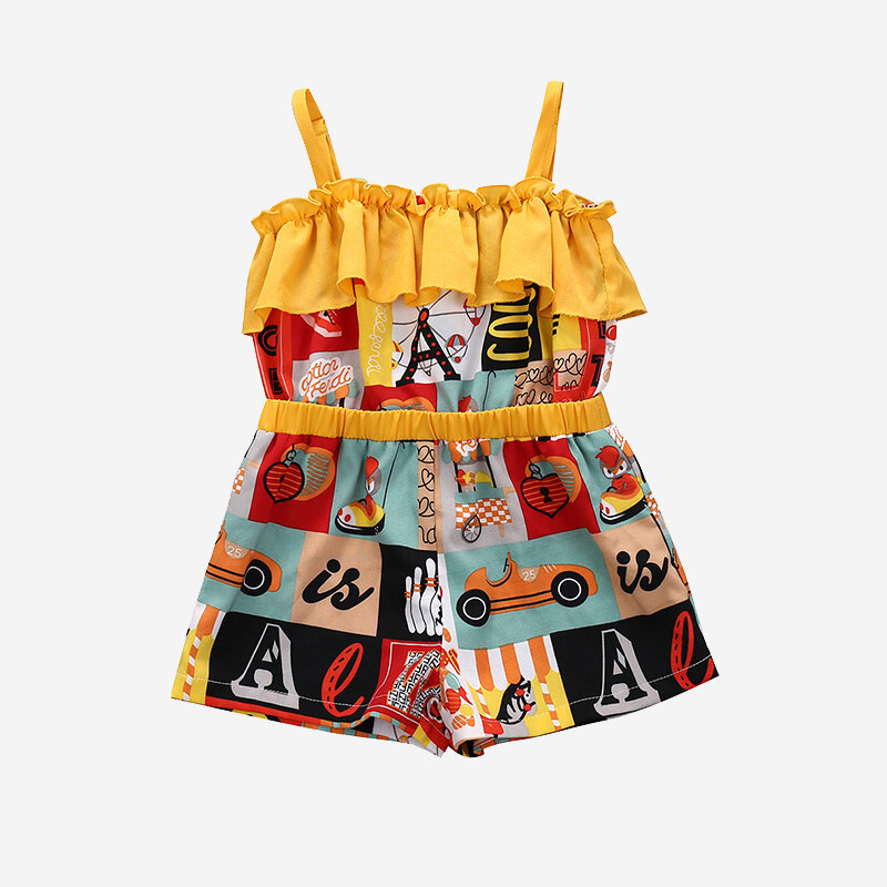 Girl's Retro Print Sleeveless Jumpsuit For 1-5Y