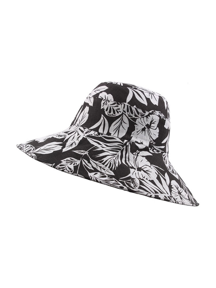 Women Double-sided Wearable Rural Print Basin Fishing Hat Outdoor Casual Sunscreen Beach Hat