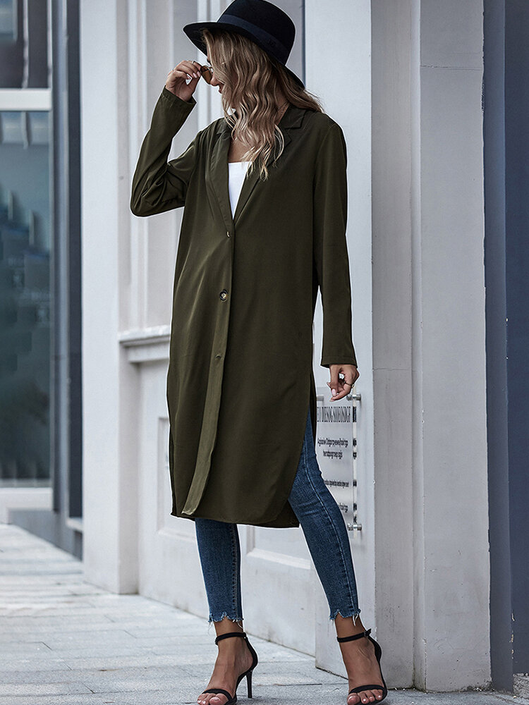 Solid Color Button Long Sleeve Cardigan