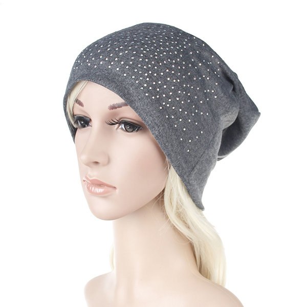 Women Outdoor Warm Cotton Hedging Cap Fall Elastic Knitted Beanie Hat