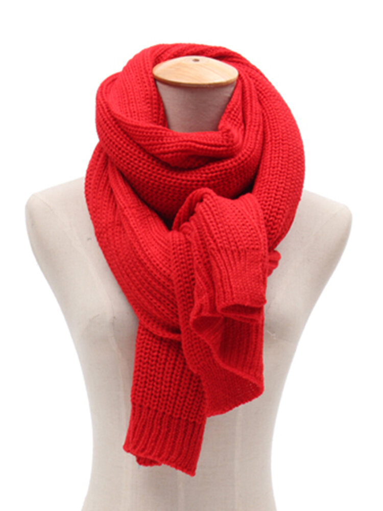 200cm Solid Knitting Scarf For Men Long Scarves Collar Neck Luxury Brand Shawls Couple Unisex Scarf