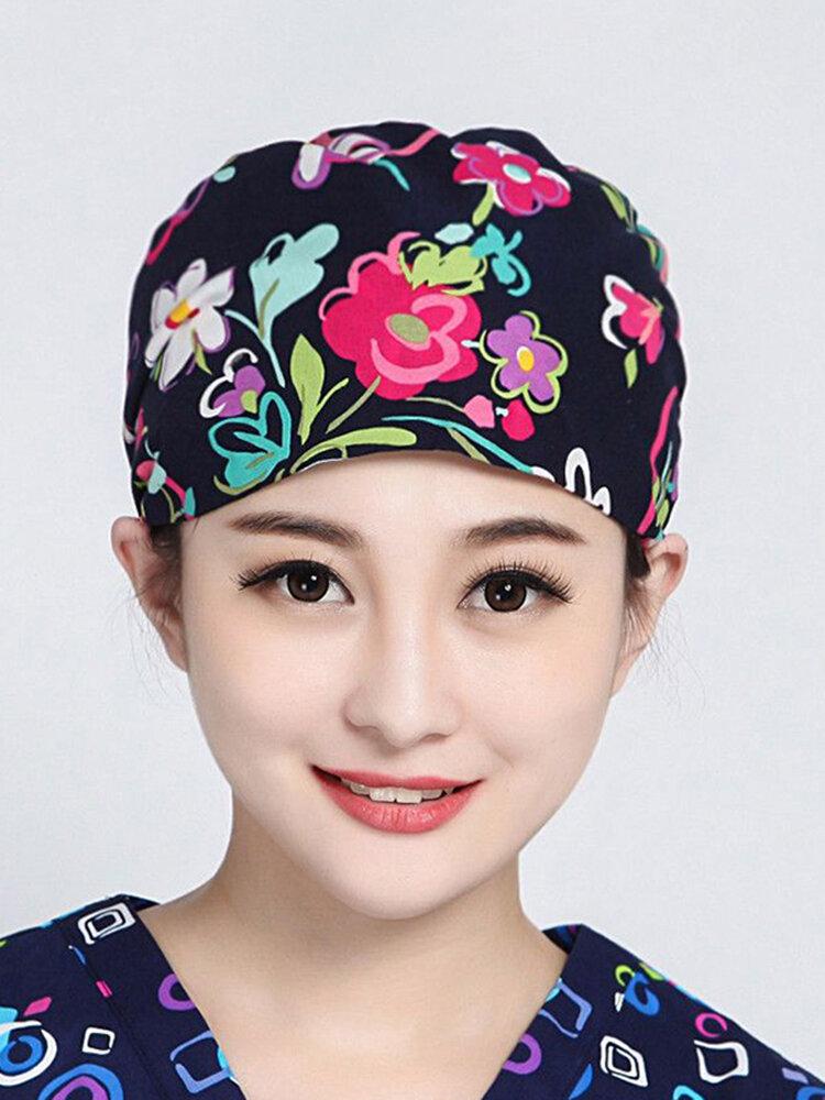 Women Men Ribbon Flower Surgical Cap Pure Cotton Print Gray Anesthesiologist Beautician Cap