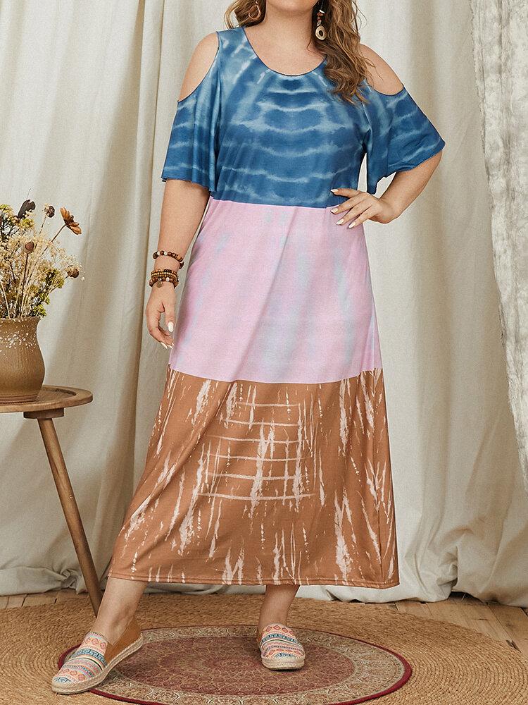 Patchwork Tie Dye Gestreifter Print Off-Shoulder Plus Größe Kleid