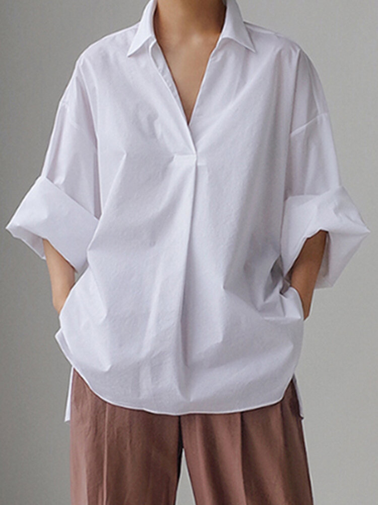 Solid Color Loose Long Sleeve Casual Blouse for Women