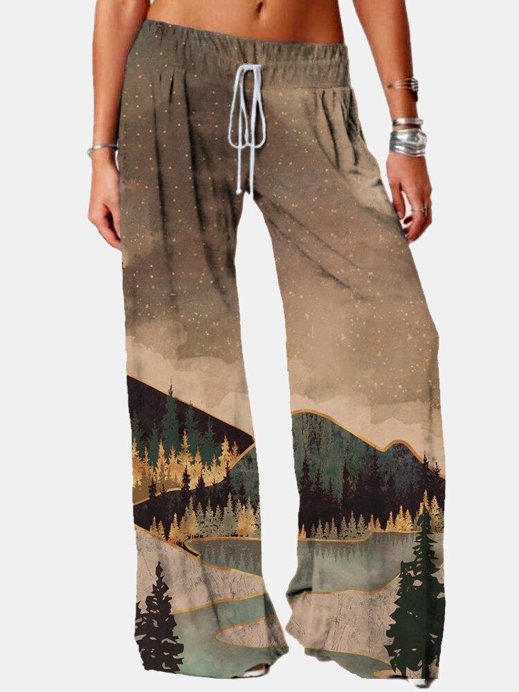Casual Landscape Print Elastic Waist Pants For Women