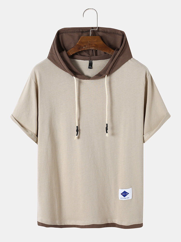 Mens Casual Contrasting Color Short Sleeve Label Hooded T-Shirt