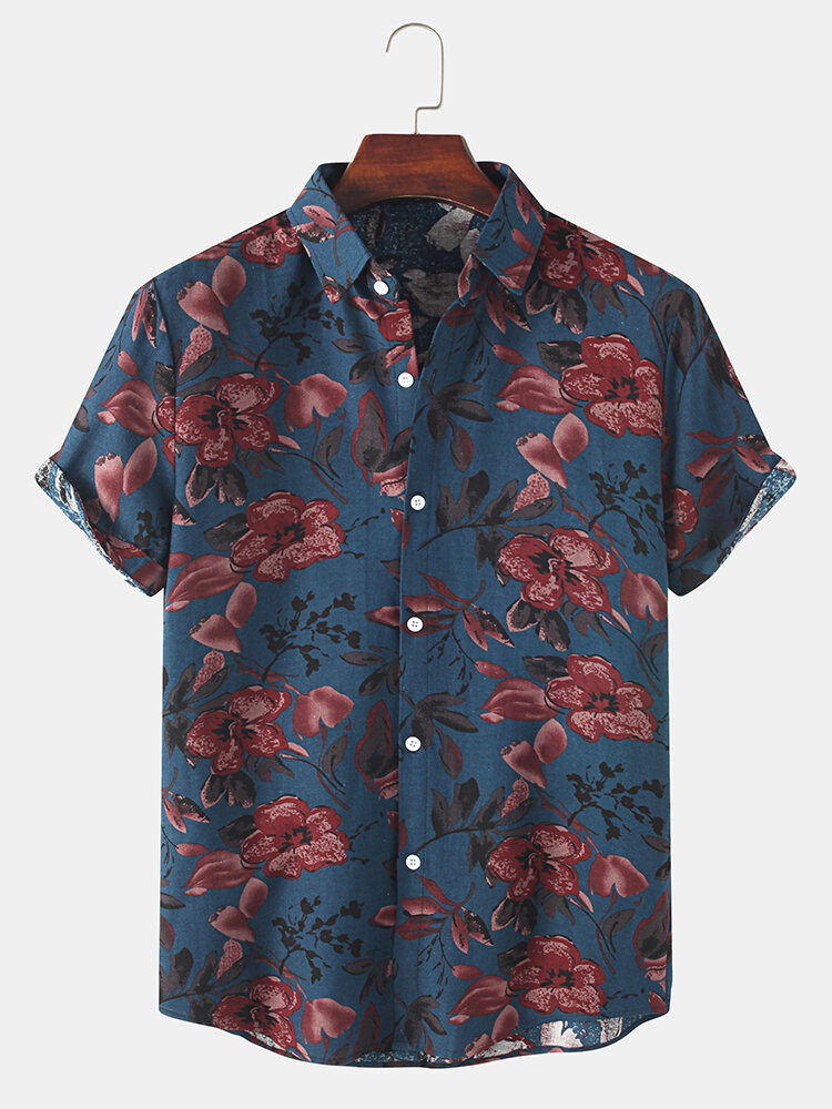 Mens Flower Plant Print Lapel Holiday Short Sleeve Shirts