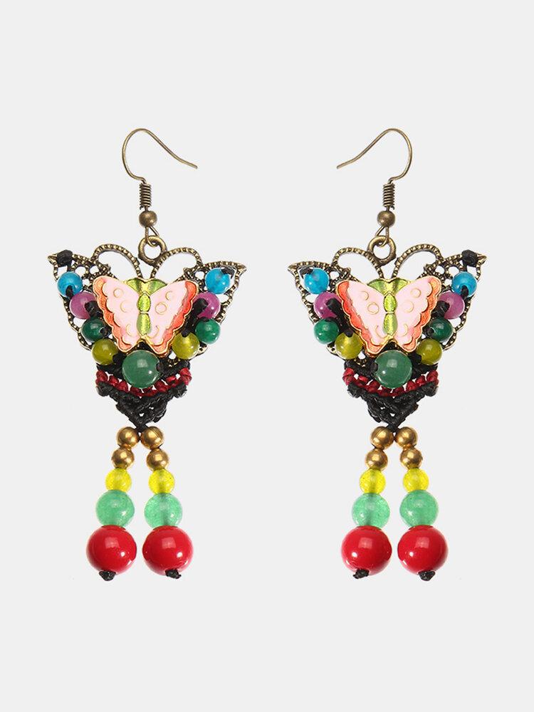 Women's Ethnic Earrings Retro Butterfly Agate Earrings for Gift