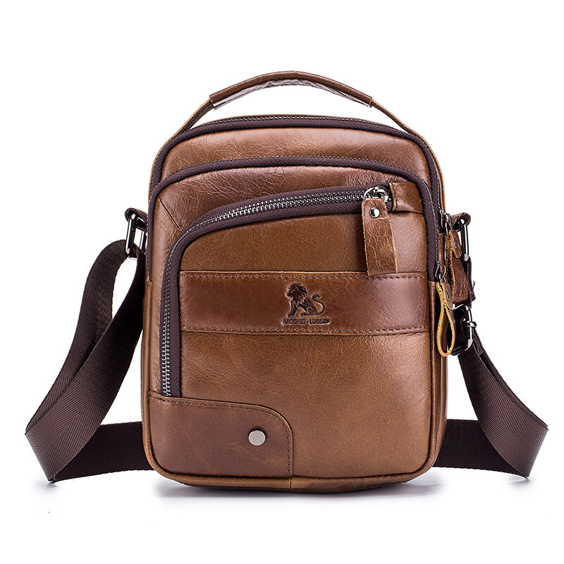 Men Genuine Leather Bag Multi Layer Cowhide Crossbody