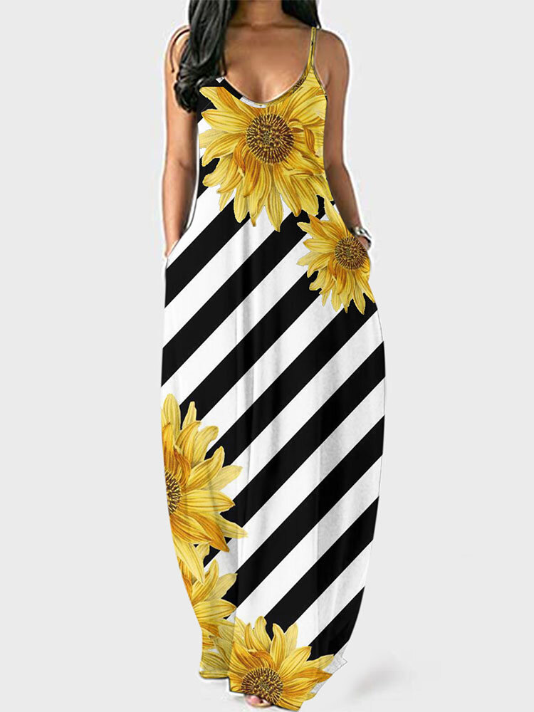 Sunflowers Black and White Stripes Plus Size Camisole Dress