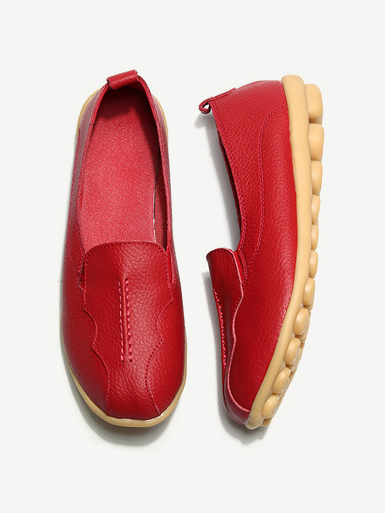 SOCOFY Big Size Pattern Leather Soft Flat Casual Shoes For Women