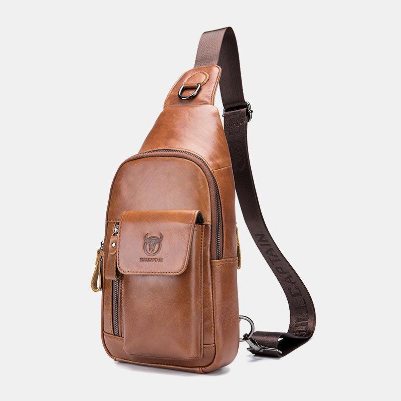 Men Vintage Genuine Leather Earphone Hole Multi-pocket Crossbody Bag Sling Bag