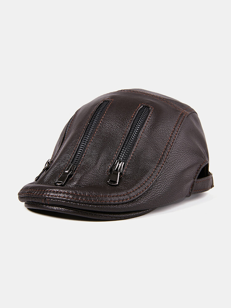 Men Winter Protect Ear Adjustable Thickening Leather Warm Comfortable Vintage Beret Cap