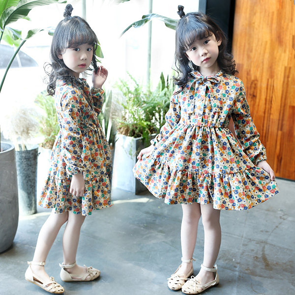 Floral Printed Girls Dress Kids Ruffles Bowknot Long Sleeve Dresses for Spring Autumn Clothes