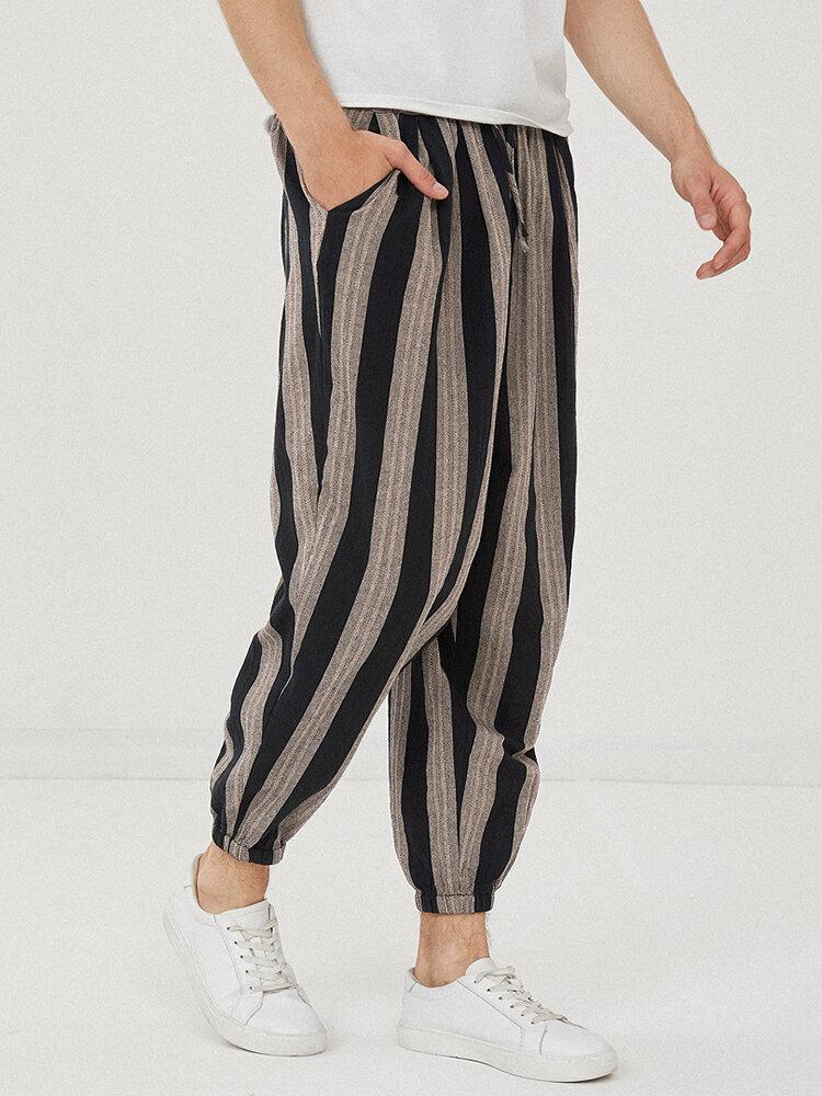 Mens 100% Cotton Striped Loose Drawstring Waist Casual Harem Pants