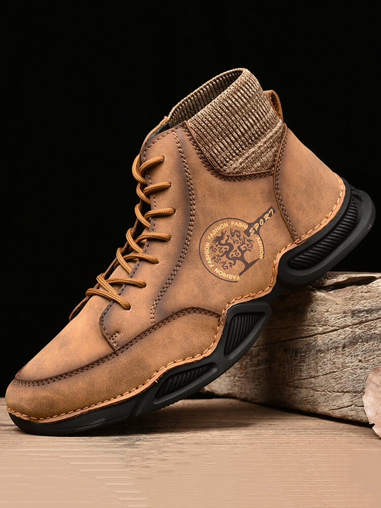 Men Genuine Leather Non Slip Elastic Panel Casual Ankle Boots