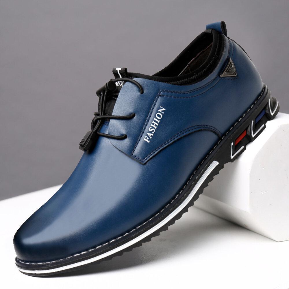 Chaussures en cuir décontractées pour hommes à lacets élastiques pour hommes
