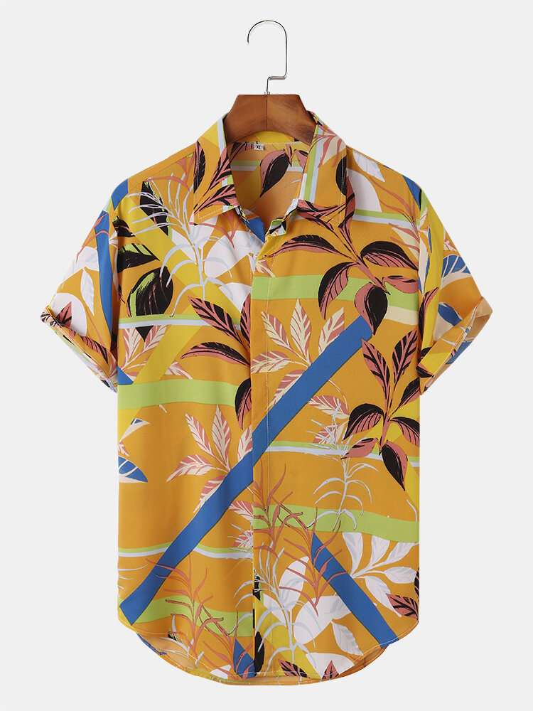Mens Colorful Stripe Plant Print Concealed Placket Holiday Short Sleeve Shirts