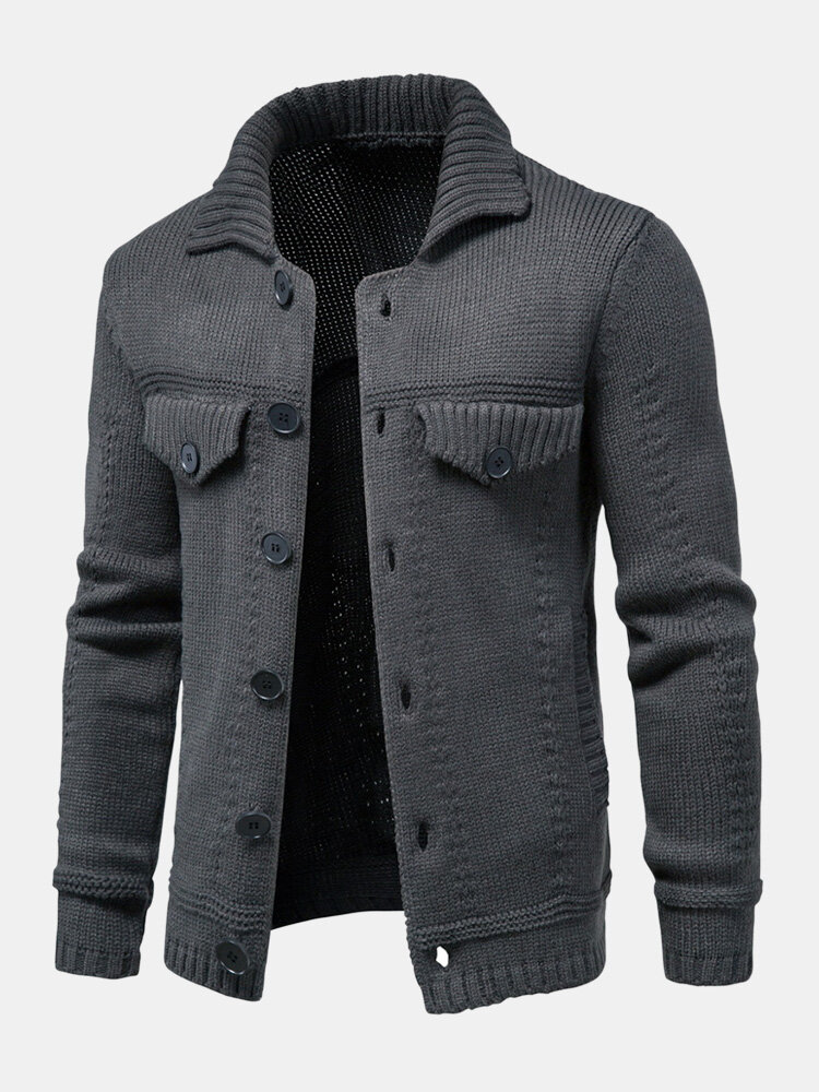 Mens Solid Color Button Front Knit Warm Casual Cardigans With Pocket