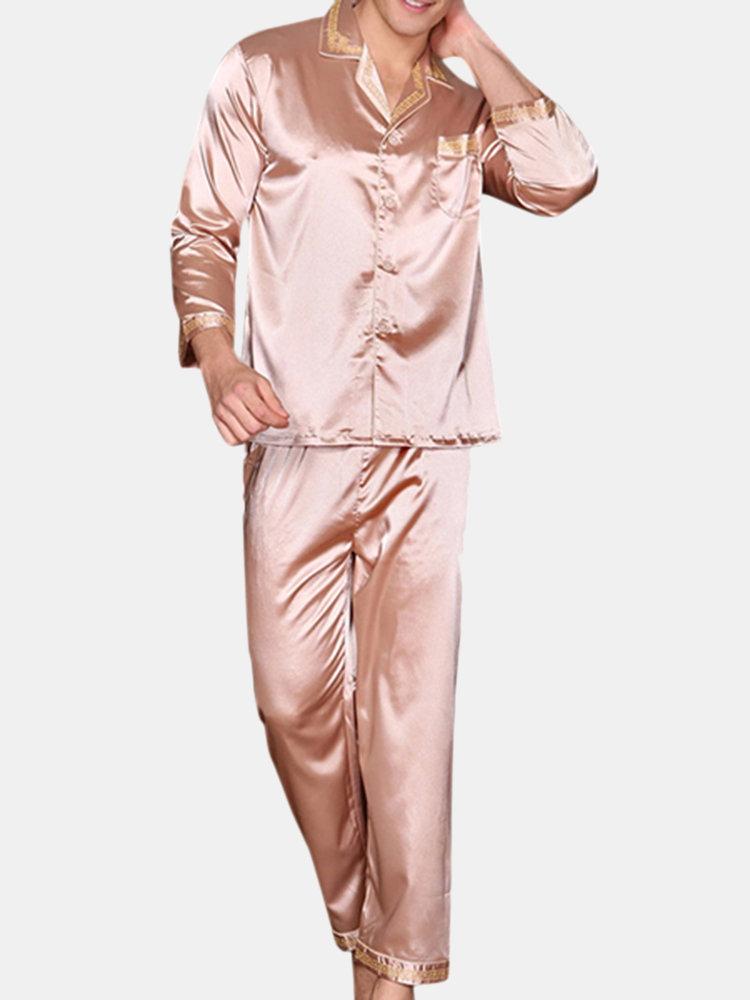 Ensemble de Pyjama en Soie Souple Respirante à Imprimé pour Homme