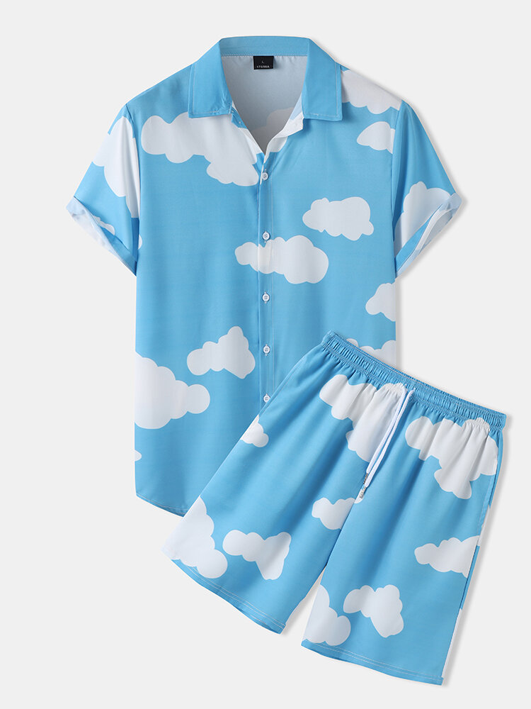 Mens Cloud Pattern Lapel Short Sleeve Pocket Casual Two Piece Outfits
