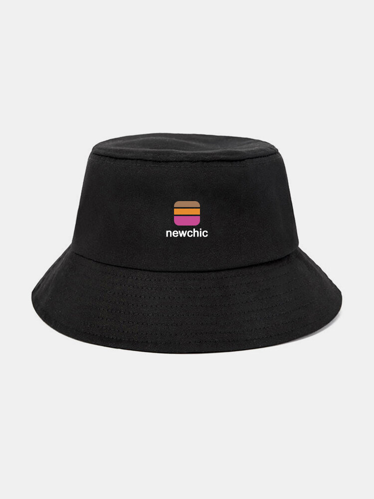 Unisex Canvas Solid Color-Block Letter Pattern Print All-match Sunscreen Bucket Hat