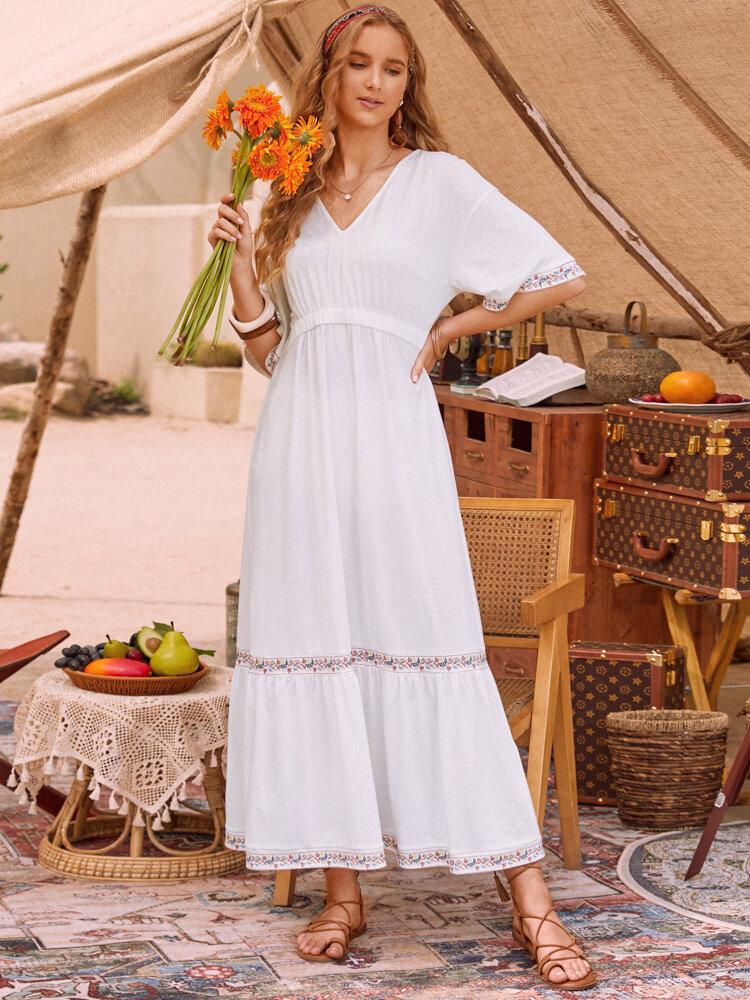 Robe de vacances unie à manches courtes et col en V pour femme