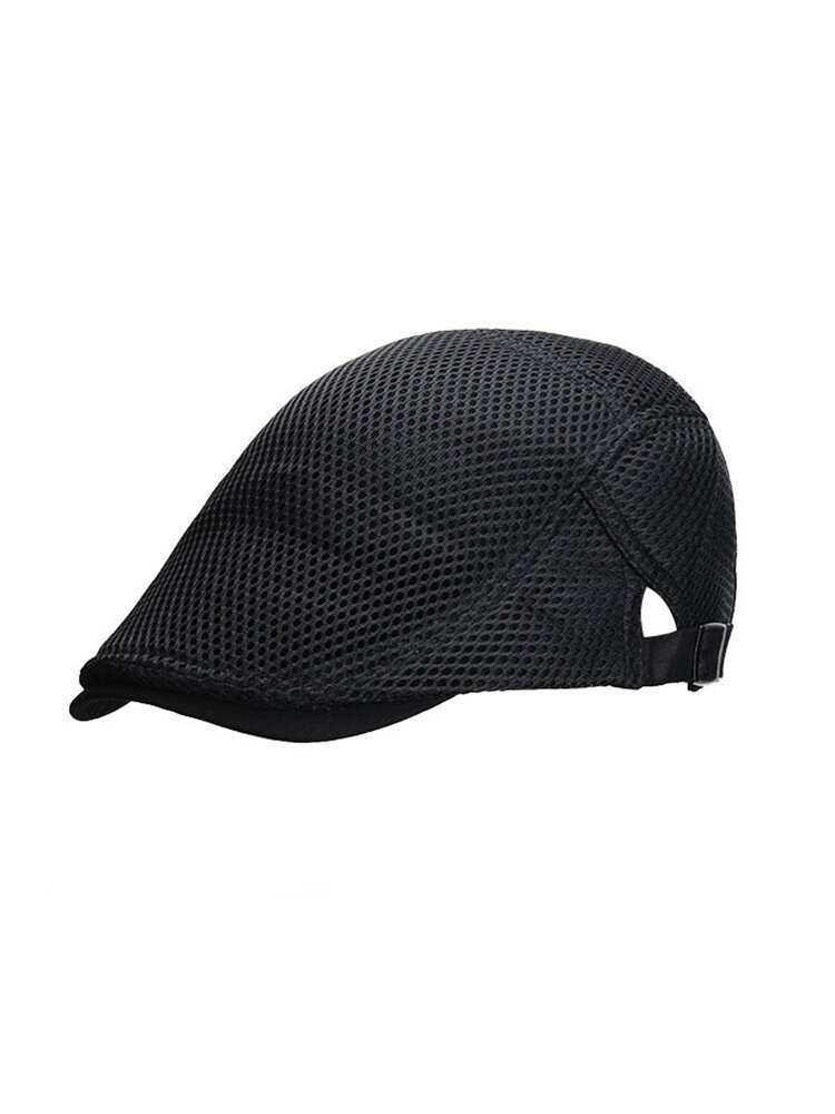 Men Women Beret Forward Cap Breathable Mesh Cap Peaked Cap