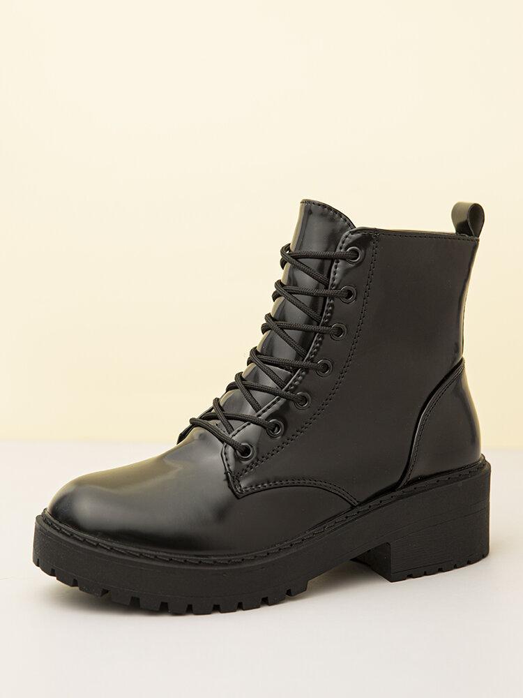 Women Black Lace Up Side-Zip Chunky Heel Wearable Slip Resistant Short Boots