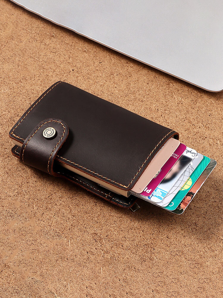 Men Genuine Leather RFID Leather Automatic Card Box Coin Purse Mini Wallet