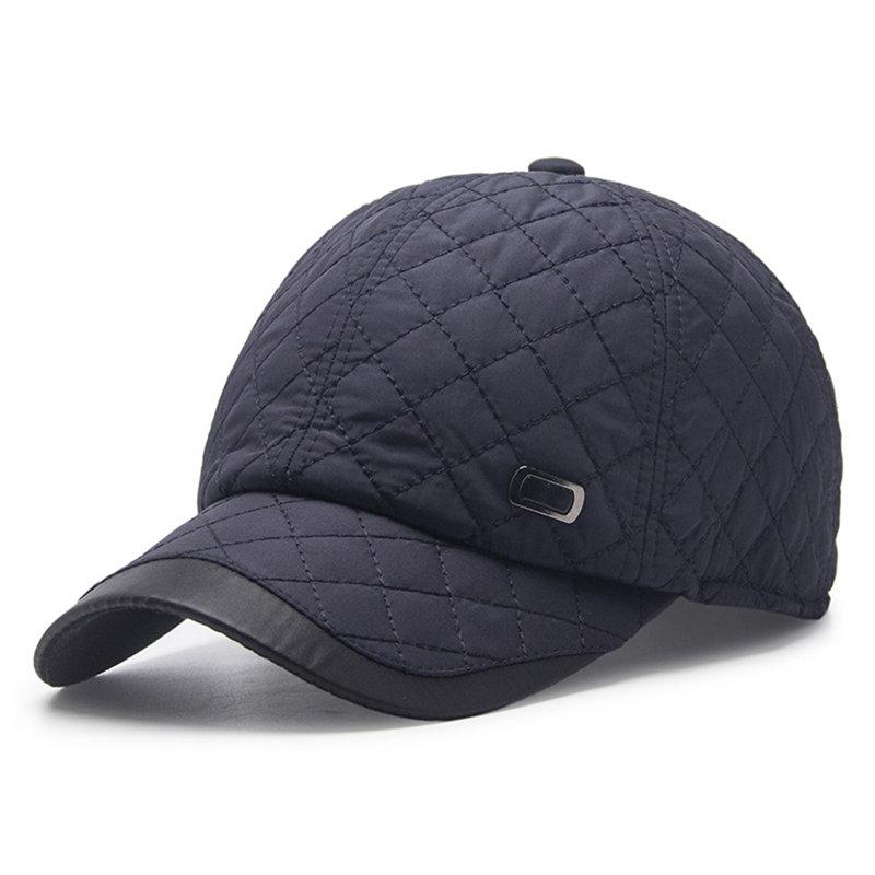 Mens Solid Color Ear Protection Warm Velvet Baseball Cap Winter Adjustable Casual Hat
