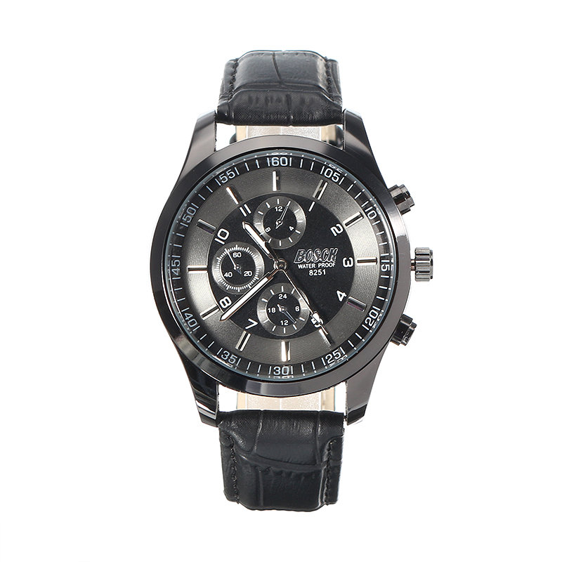 BOSCK Men's Watch Charming Stainless Steel Leather Watch Christmas Gift