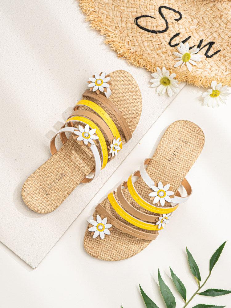 Mujer Casual Playa Flores Stripe Thunmb Slide zapatillas