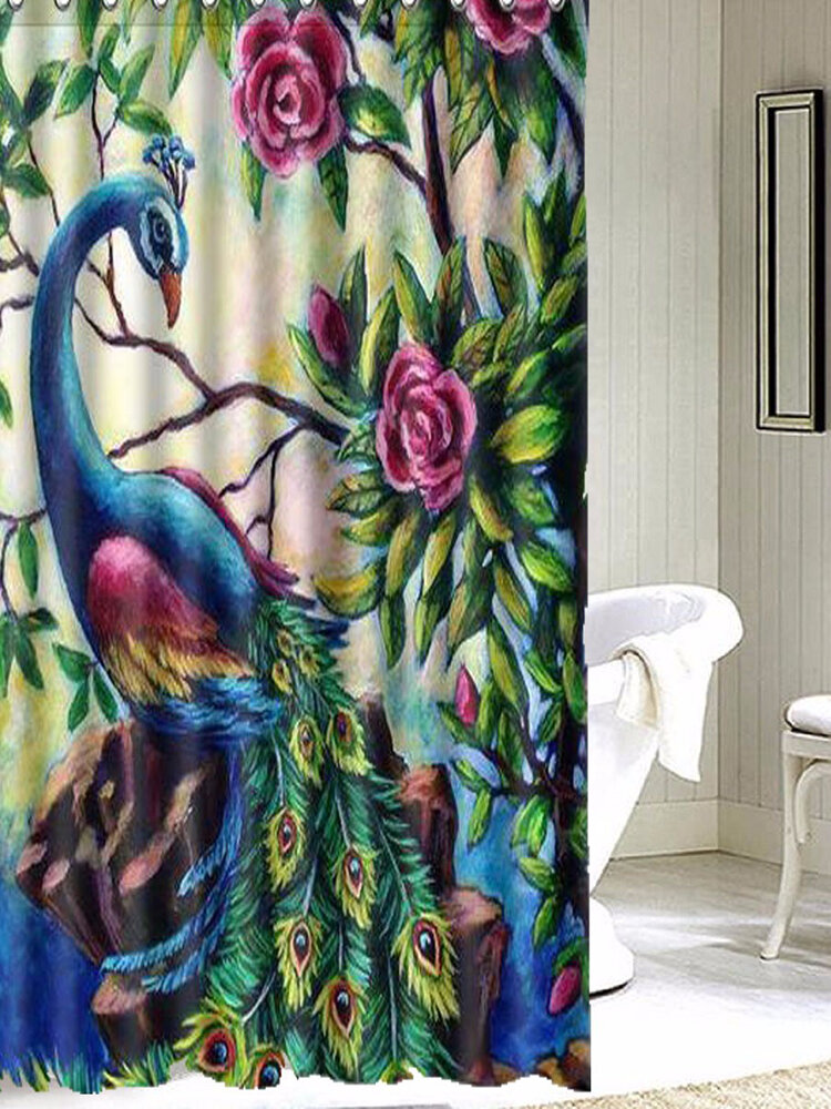 150x180cm Colorful Flower Peacock Waterproof Bathroom Shower Curtain With 12 Hooks