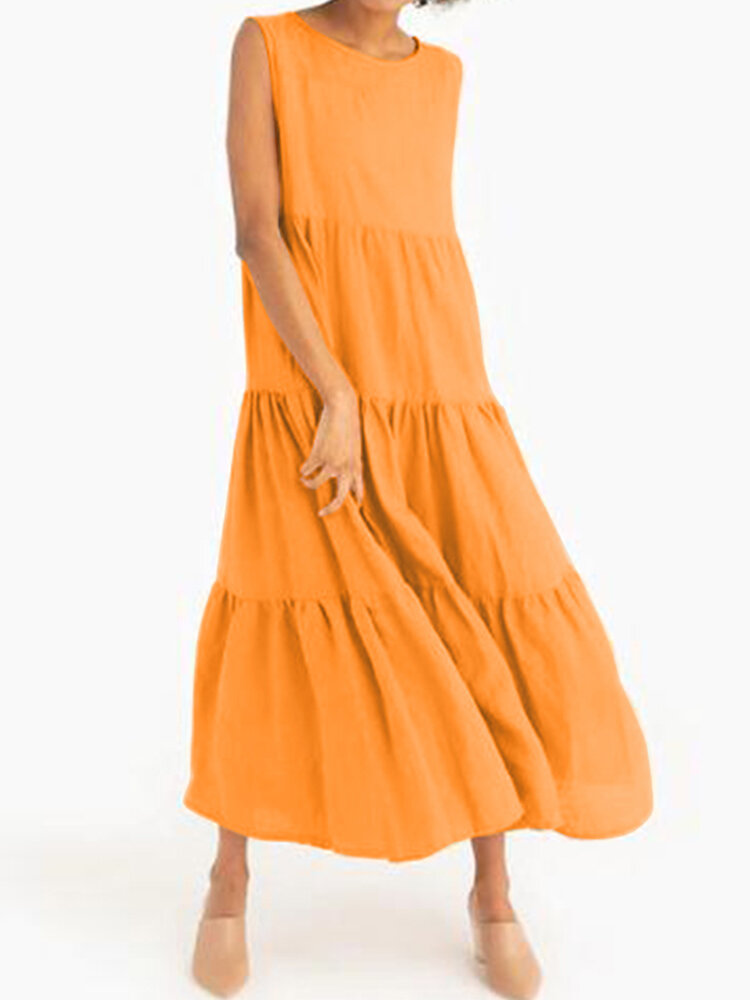 Solid Color O-neck Layered Sleeveless Casual Cotton Dress