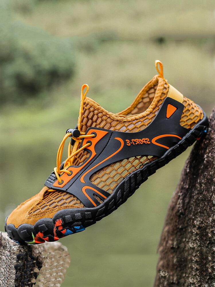 Men Outdoor Hiking Slip Resistant Soft Mesh Water Wading Shoes