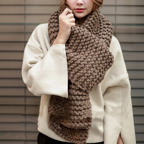 Womens Wool Knitted Scarves Thicken Winter Warmer Wrap Pashmina Shawl Scarf HD