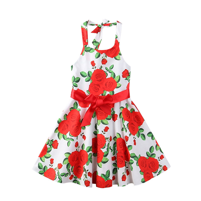 Floral Girls Kids Casual Summer Strap Party Beach Long Dresses For 2Y-9Y