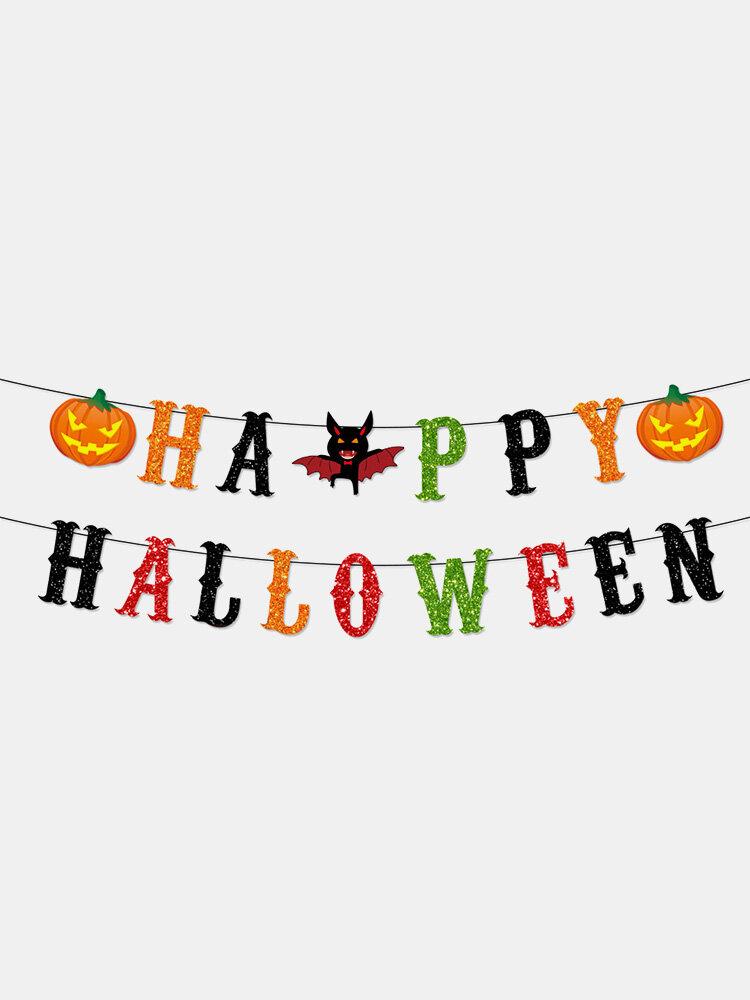 1 Set Halloween Pull Flag Scissors Banner Party Decoration Spider Pumpkin Bat Hat Ghost Pattern Festival Ornaments
