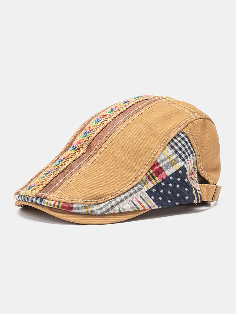 Casquette plate de béret tout-aller décontractée en coton tissé unisexe de couleur arc-en-ciel en corde de paille tissée