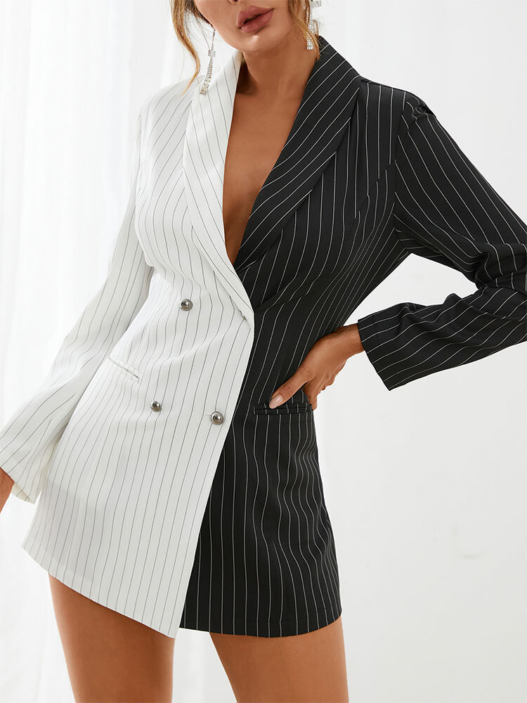 Stripe Contrast Color Patchwork Lapel Long Sleeve Double Breasted Blazer