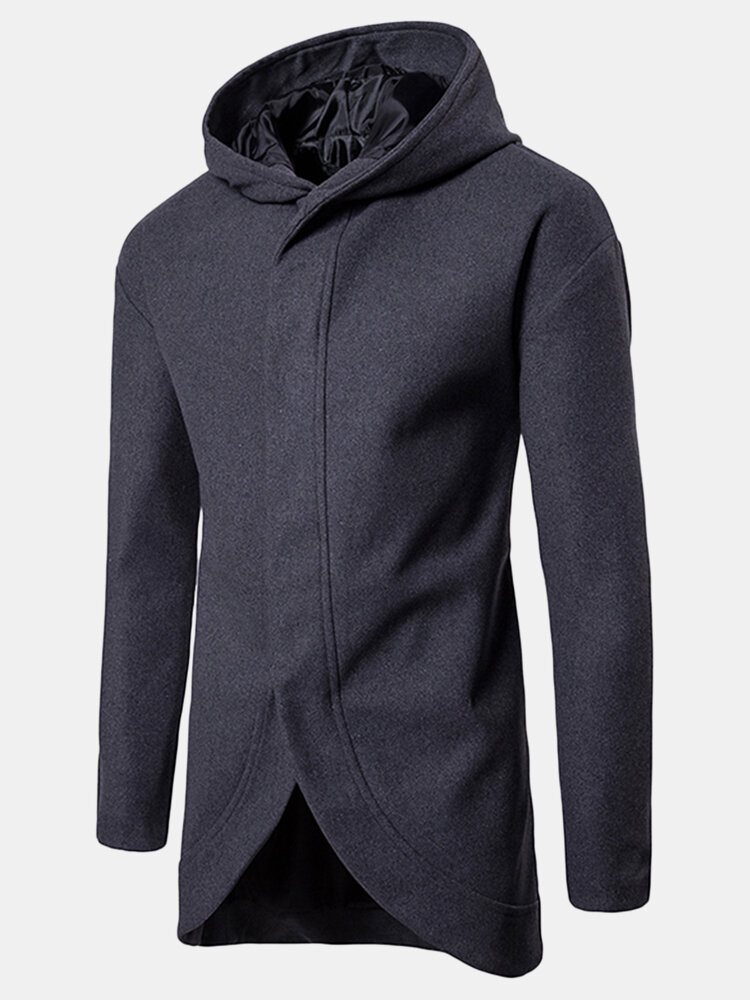 Mens Hooded Mid-long Irregular Hem Single Breasted Casual Business Trench Coats