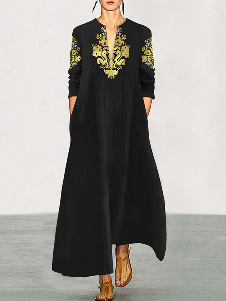 V Neck Casual Ethnic Printed Long Loose Pullover Maxi Dress