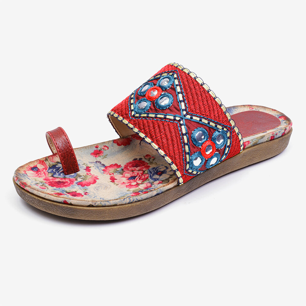 High-quality Lostisy LOSTISY Folkways Embroidered Clip Toe Bohemian Flat Beach Sandals
