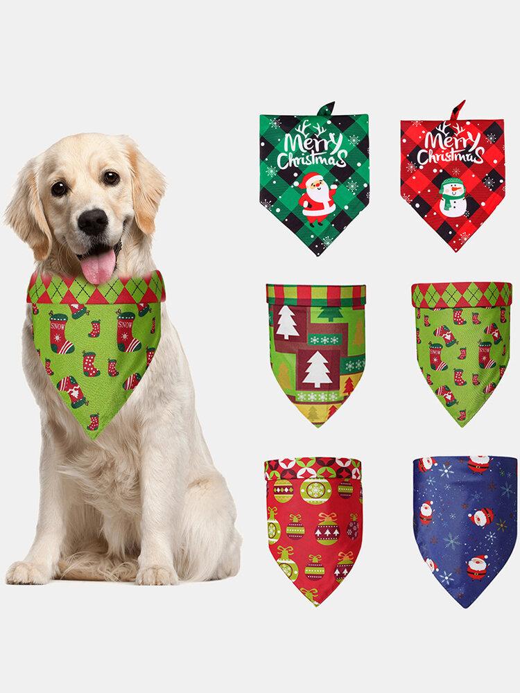 6 Pcs Christmas Pet triangle Scarf Pet Saliva Towel Double-Sided Dog Bandana Scarf Pet Supplies