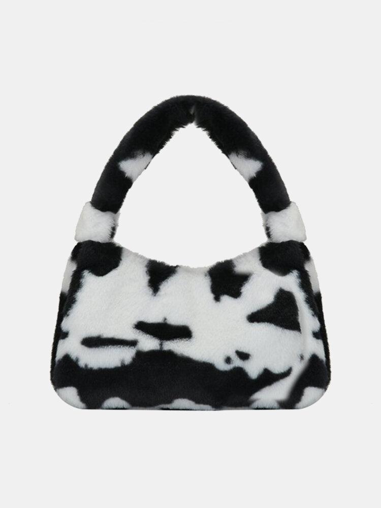 Women Plush Fluffy Cow Zebra Shoulder Bag Handbag