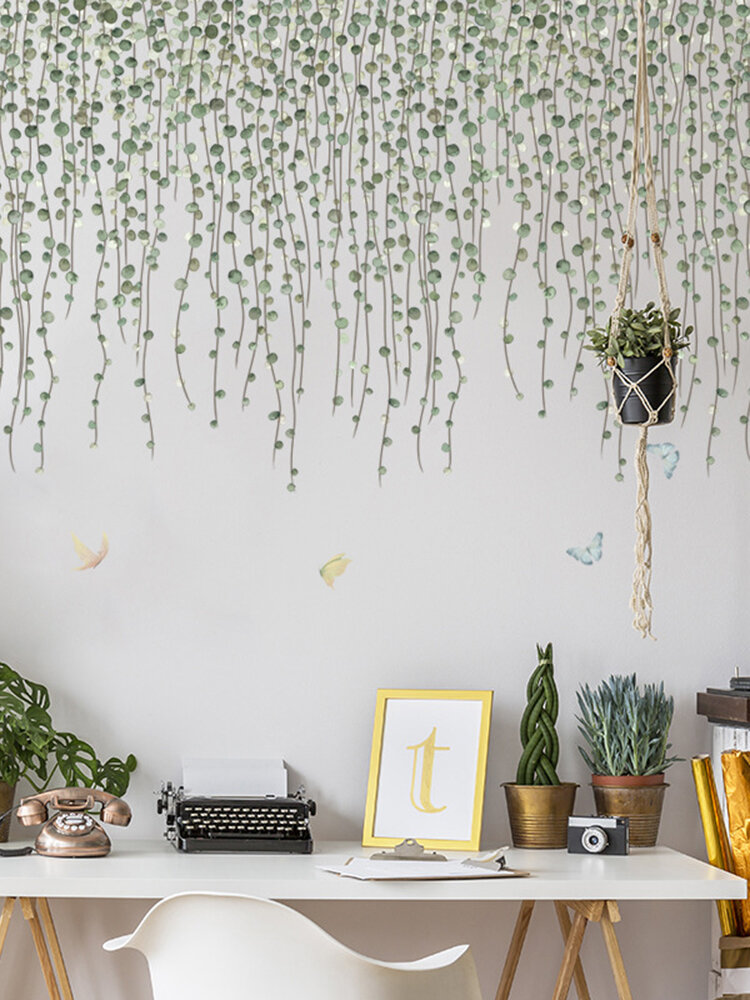Green Branches And Butterfly Pattern Self-adhesive Bedroom Living Room Sticker Wall Art Home Decor