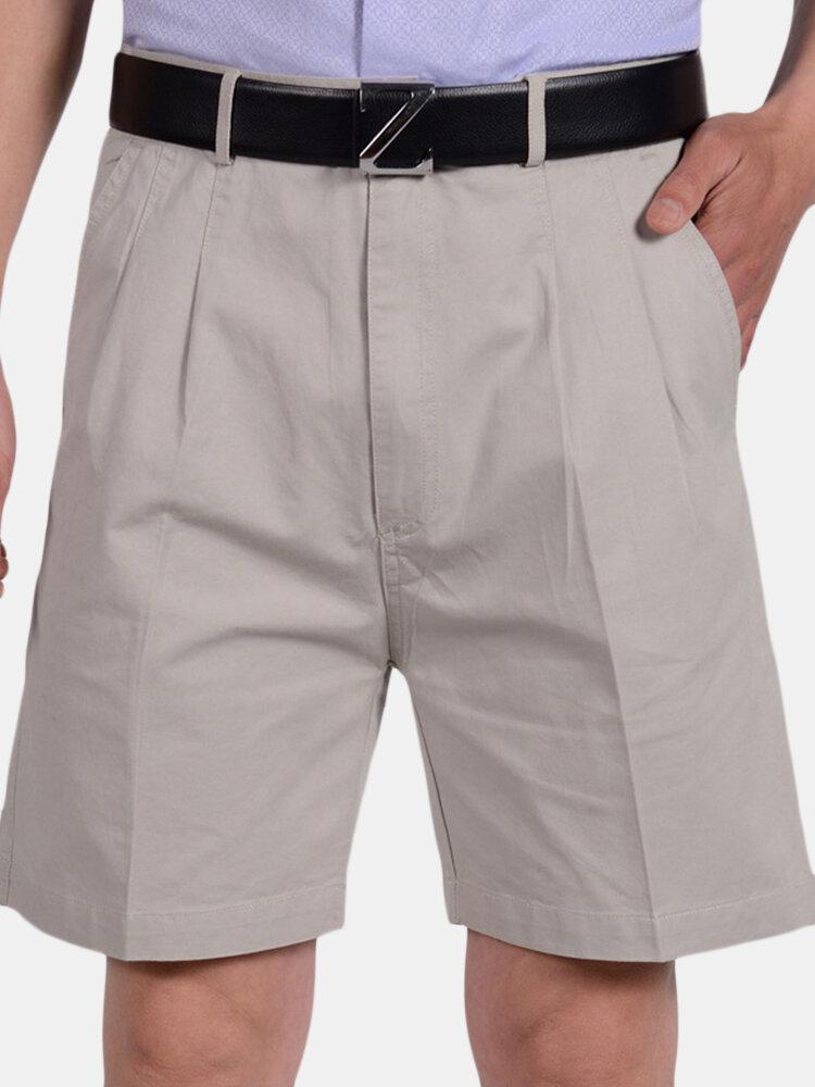 Short de costume décontracté en coton décontracté à la mode pour hommes de couleur unie