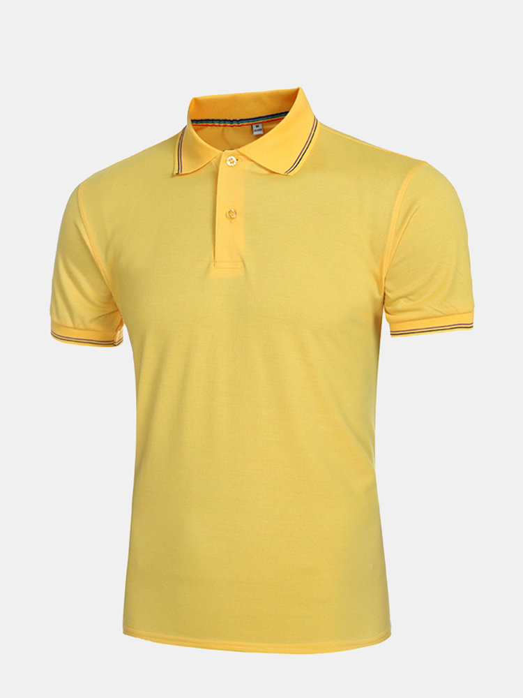 Summer Casual Slim Short Sleeve Pure Color Cotton Fashion Polo Shirts for Men